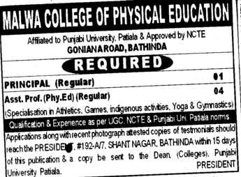 Principal and Asstt Professor (Malwa College of Physical Education)