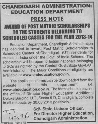 Press Note for Post Matric Scholarship to students (Education Department Chandigarh Administration)