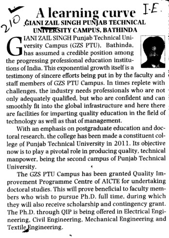 GZS, a learning curve (Giani Zail Singh College of Engineering and Technology GZCET)