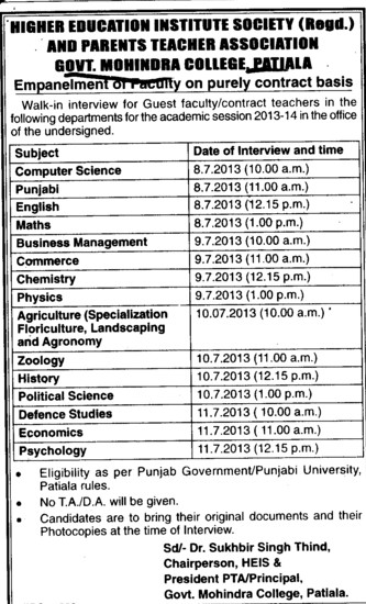 Guest Faculty on contract basis (Government Mohindra College)
