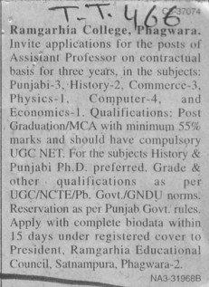 Asstt Professor on contract basis (Ramgarhia College)