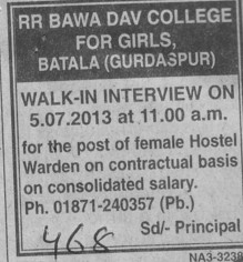 Female Hostel warden (RR Bawa DAV College for Girls)