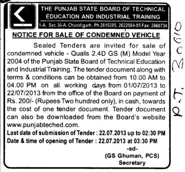 Sale of condemned vehicle (Punjab State Board of Technical Education (PSBTE) and Industrial Training)