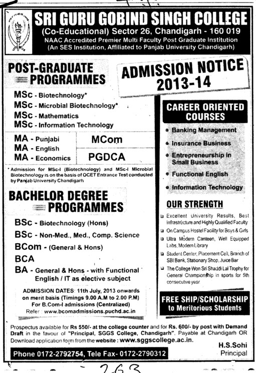 MA, MCom and PGDCA (SGGS Khalsa College Sector 26)