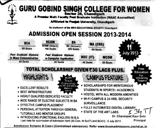 BCA and BCom (Guru Gobind Singh College for Women Sector 26)