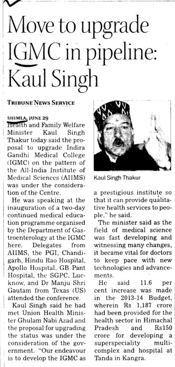 Move to upgrade IGMC n pipeline, Kaul Singh (Indira Gandhi Medical College (IGMC))