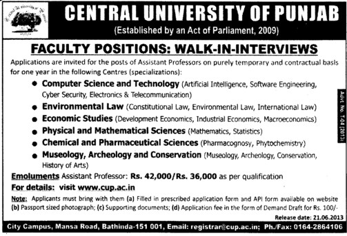 Asstt Professor on contract basis (Central University of Punjab)