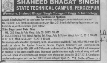Various teaching posts (Shaheed Bhagat Singh State (SBBS) Technical Campus)