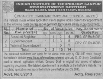 Technical Superintendent (Indian Institute of Technology (IITK))
