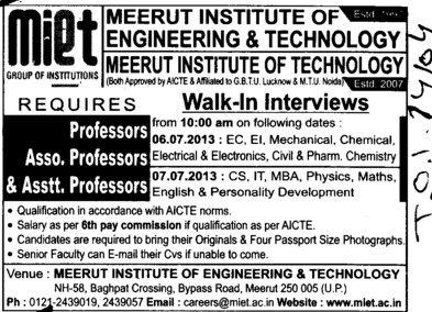 Asstt and Asso Professor (Meerut Institute of Engineering and Technology MIET)