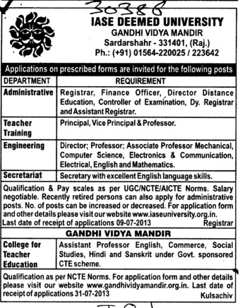 Dy Registrar and Vice Principal (IASE Deemed University)