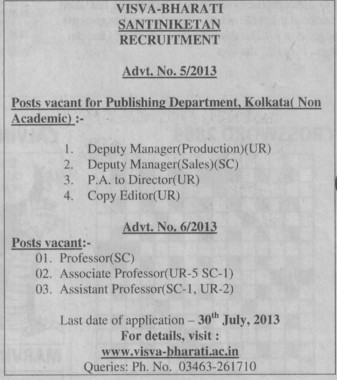 Deputy Manager and copy editor (Visva Bharati University)