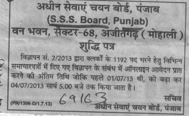 Clerks posts (Punjab Subordinate Services Selection Board (PSSSB))