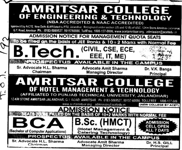 BTech in Civil and ECE (Amritsar College of Engineering and Technology ACET Manawala)