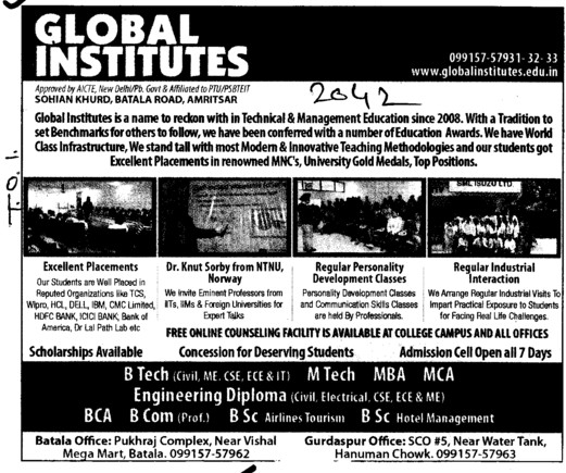 BCA, BCom and MBA (Global Institutes Group)