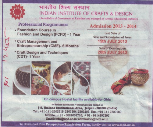 Foundation course in fashion and design (Indian Institute of Craft and Design)