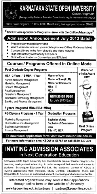 PG degree courses (Karnataka State Open University KSOU)