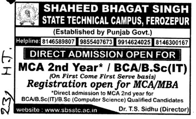 BCA and MCA (Shaheed Bhagat Singh State (SBBS) Technical Campus)