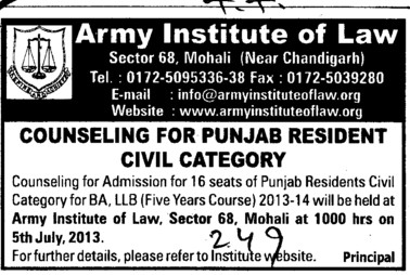 Punjab resident civil category (Army Institute of Law)