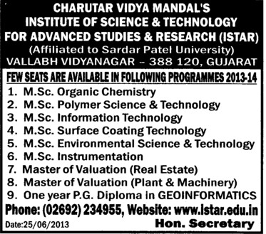 MSc in Organic Chemistry (Institute of Science and Technology for Advanced Studies and Research (ISTAR))