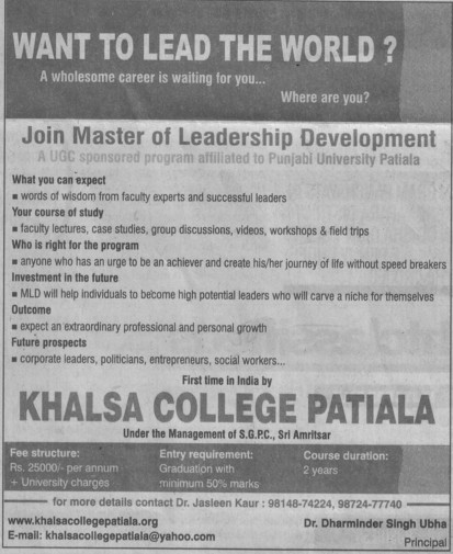 Master of Leadership Development (Khalsa College)