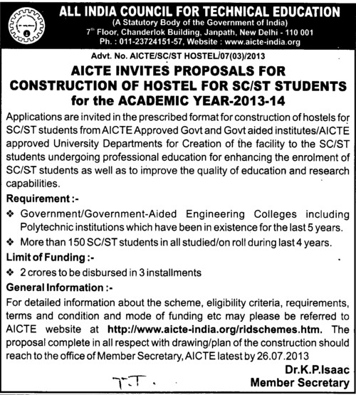 Construction of Hostel (All India Council for Technical Education (AICTE))