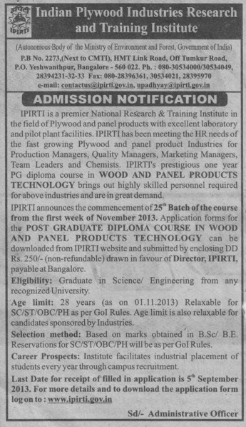 PG diploma in wood and panel products (Indian Plywood Industries Research and Training Institute (IPIRTI))