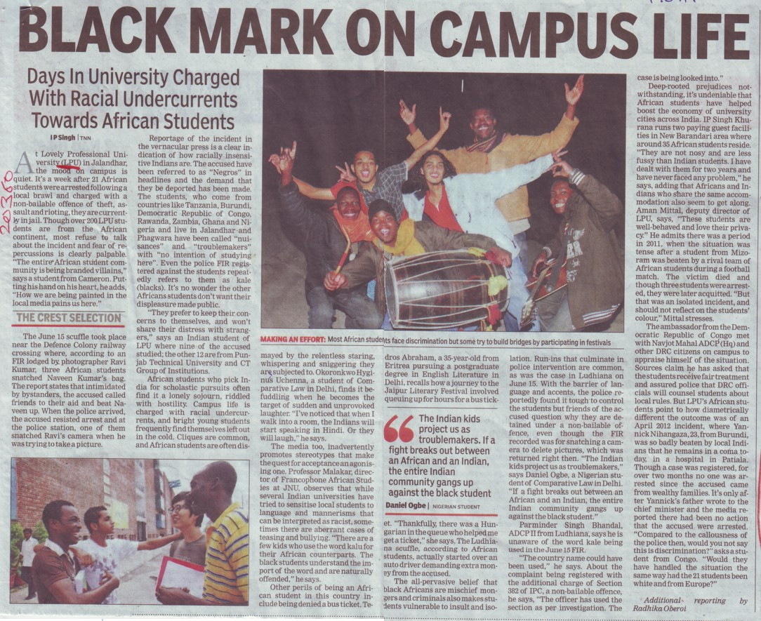Black mark on campus life (Chitkara Institute of Engineering and Technology)
