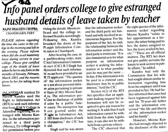 Info panel orders college to give estranged husband details of leave taken by teacher (Hans Raj Mahila Vidyalaya)