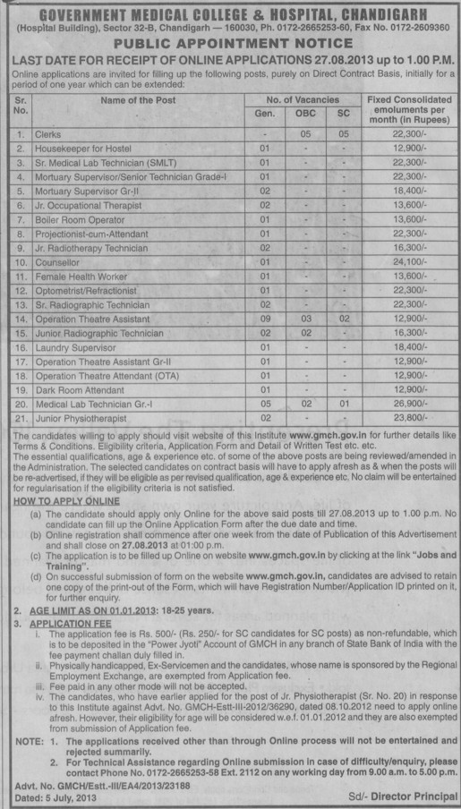 Housekeeper for Hostel (Government Medical College and Hospital (Sector 32))