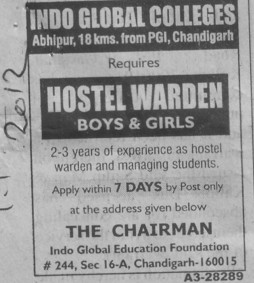 Hostel Warden (Indo Global Group of Colleges)