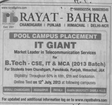 Pool campus placement (Rayat and Bahra Group)