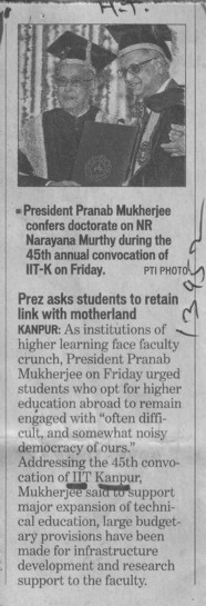 Prez asks students to retain link with motherland (Indian Institute of Technology (IITK))