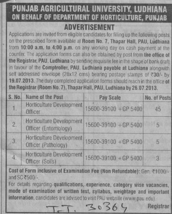 Horticulture development officer (Punjab Agricultural University PAU)