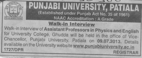 Asstt Professor in Physics and English (Punjabi University)