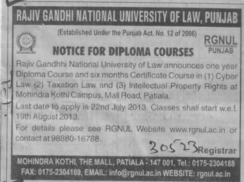 Diploma coures in cyber law (Rajiv Gandhi National University of Law (RGNUL))