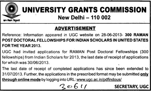 RAMAN post doctoral fellowships (University Grants Commission (UGC))