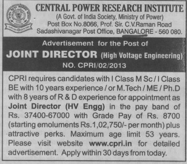 Central power research institute cpri bangalore karnataka - Post office joint account ...