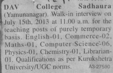 Teaching faculty on contract basis (DAV College)