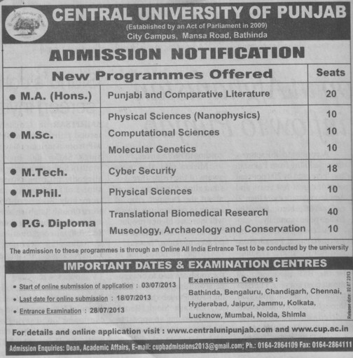 MSc and M Phil (Central University of Punjab)