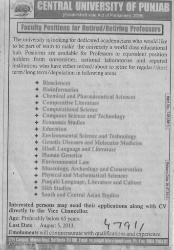 Faculty position for retiring professor (Central University of Punjab)