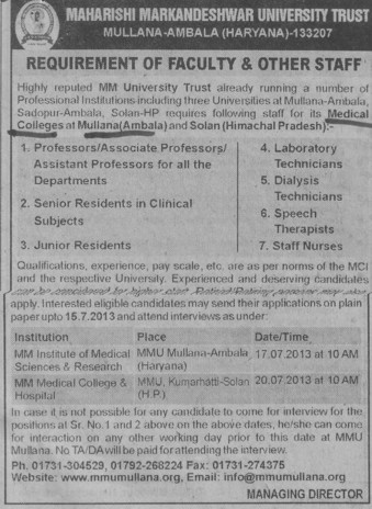 Junior Residents and Asstt Professor (MM Institute of Medical Sciences and Research (MMIMSR))