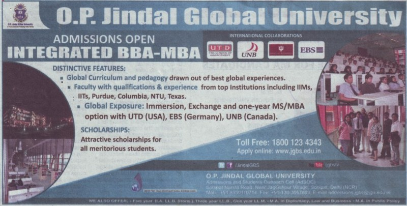 Integrated BBA and MBA (OP Jindal Global University)