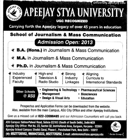 BA, MA and PhD (Apeejay Stya University)