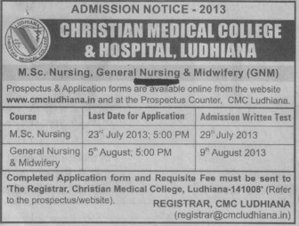 MSc Nursing (Christian Medical College and Hospital (CMC))