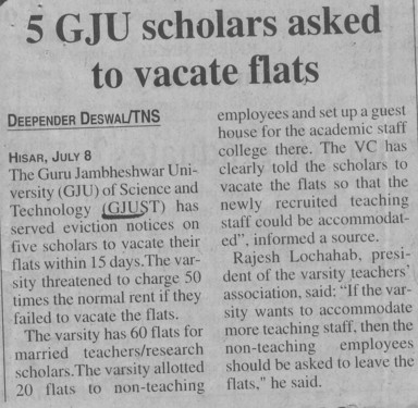 5 scholars asked to vacate flats (Guru Jambheshwar University of Science and Technology (GJUST))