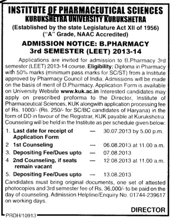 B Pharmacy through LEET (Kurukshetra University)