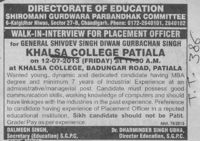 Placement officer (Khalsa College)