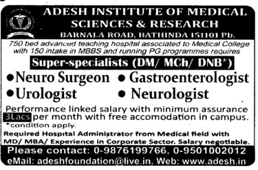 Urologist and Neuro Surgeon (Adesh Institute of Medical Sciences and Research)
