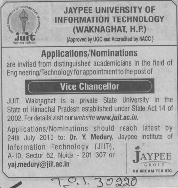 Vice Chancellor (Jaypee University of Information Technology (JUIT))